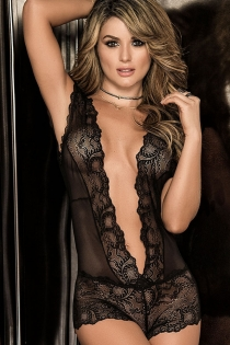 Black lace deep V open back bodysuit sexy perspective transparent temptation sexy lingerie