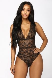 Sexy black lace stitching mesh one piece sexy pajamas sexy lingerie