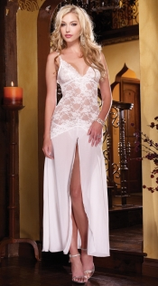White lace temptation sexy pajamas large size perspective strap nightdress