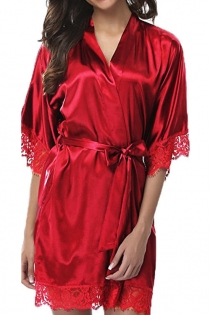 Red Ice silk pajamas plus size fat girl nightdress sexy loose lace robe