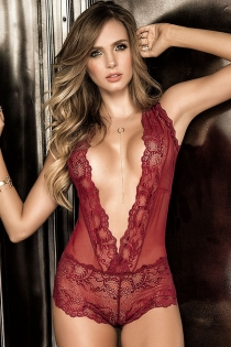 Burgundy lace deep V open back bodysuit sexy perspective transparent temptation sexy lingerie
