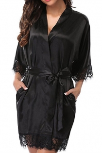 Black Ice silk pajamas plus size fat girl nightdress sexy loose lace robe