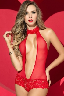 hot red mesh transparent teddy lingerie