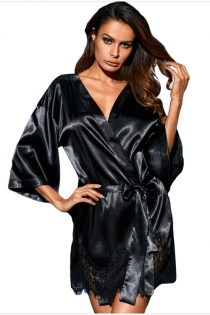 Black Silk Robe With Lace Trim Bottom