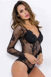 Black long sleeve fishnet mesh transparent jumpsuit