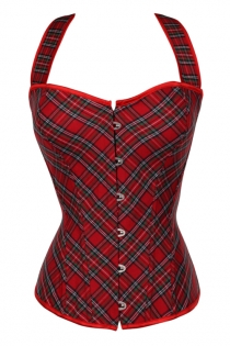 Sassy Red Plaid Tie Laces Corset With Red Ribbon Closure Straps