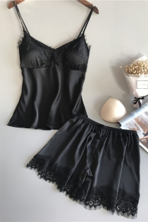 Black sexy ice silk temptation suspender skirt suit