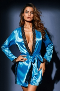 Sexy blue ice silk long-sleeved lace nightgown erotic pajamas