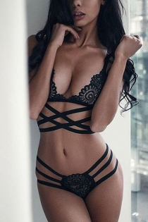sexy black openwork cross straps three-point bikini