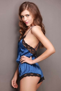 Blue Ice silk lace backless apron