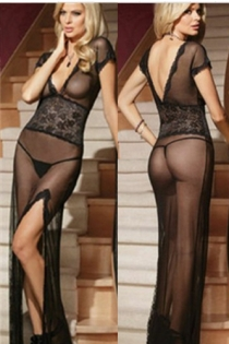 Sexy black lingerie tulle sexy uniform temptation transparent mesh nightdress