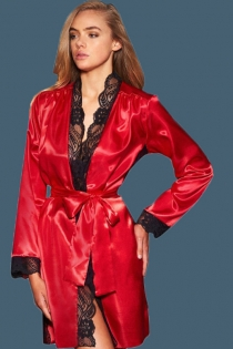 Sexy red ice silk long-sleeved lace nightgown erotic pajamas