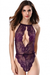 Purple Plus Size Lace One-piece Teddy