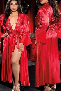Hot red silk bathrobe nightgown women's long dress