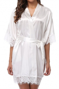 White Ice silk pajamas plus size fat girl nightdress sexy loose lace robe