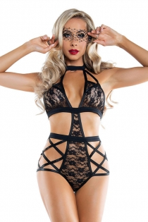 Sexy black lace halter teddy slutty lingerie