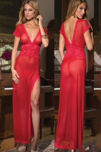 Sexy hot red lingerie tulle sexy uniform temptation transparent mesh nightdress