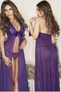 Purple Lace Maxi Sexy Pajamas Sexy Lingerie Sling Long Robe