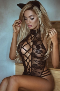 Perspective hollow lace straps teddy cat girl