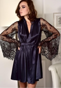 Blue lace perspective long-sleeved imitation ice silk gown