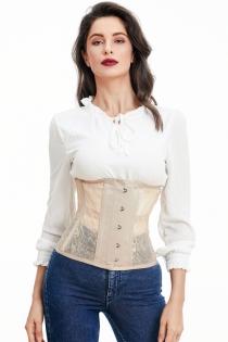Breathable thin mesh steel bone beige underbust corset waist trainning corset slim bustier