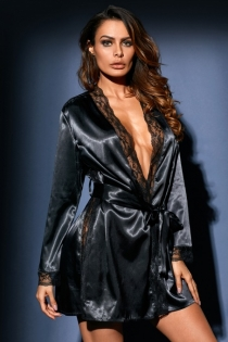 Sexy black ice silk long-sleeved lace nightgown erotic pajamas