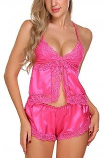 Sexy Pink Silk Lace Trim Sling Pajama Shorts Set
