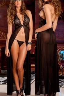 Black Lace Maxi Sexy Pajamas Sexy Lingerie Sling Long Robe