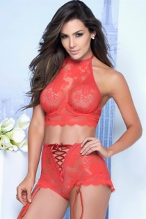 Hot red three-point lace collar bra lingerie set