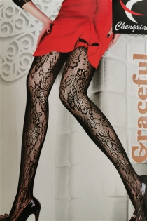 Sexy Black Patterned Fishnet Stockings With All-Over Floral Print Pattern