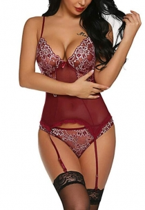 Wine red mesh perspective one piece sexy lingerie with Garters