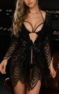 Black sexy mesh yarn women's bathrobe underwear sexy suit