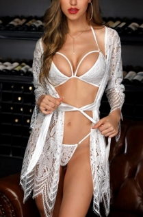 White sexy mesh yarn women's bathrobe underwear sexy suit