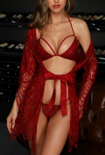 Wine red sexy mesh yarn women's bathrobe underwear sexy suit