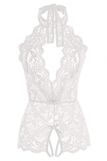 White sexy flower lace mesh perspective bodysuit