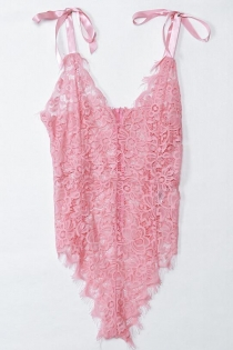 Sexy Pink Floral Lace Eyelash Trim Teddy