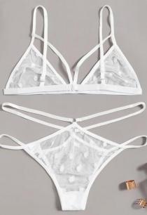 White lace transparent female bikini temptation three-point sexy lingerie set
