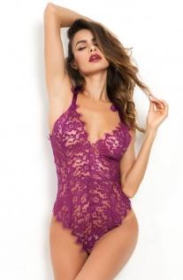 Sexy Purple Floral Lace Eyelash Trim Teddy
