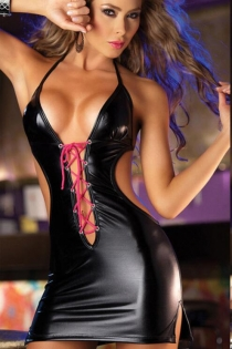 Black patent leather one-piece back leaky sexy pole dance costume