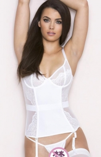 Sexy white suspender waistcoat lingerie suit