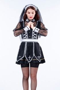 Japanese hot style nun fancy dress with veil dress, belt, neck decoration, long sleeve blouse and cross necklace