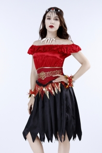 Halloween Miss Vampire Fancy Dress with headgear, dress, waistband, bracelet