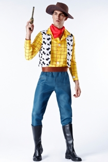 Disney Toy Story Woody Fancy Dress With Cowboy hat, scarf, shirt, vest, pants, belt