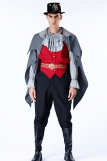 Halloween vampire duke fancy dress with hats, cloaks, shirt, vests, belts, pants