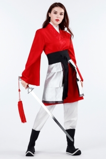 Disney movie Mulan Fancy Dress with jacket, fake collar, armor, waistband, pants