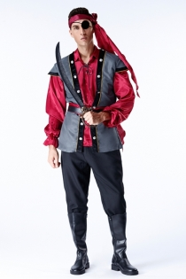 Classic men's pirate costume with turban, eye patch, shirt, vest, belt, pants, Prop knife