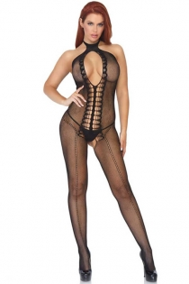 Sexy Deep V Hollow One-Piece Fishnet Crotchless Naughty Body Stockings
