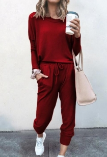 Loose solid burgundy color long-sleeved casual suit