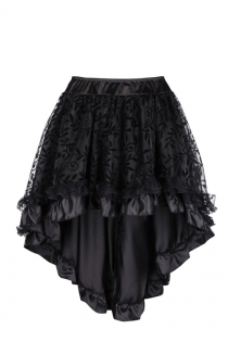 Floral Tulle Asymmetrical Satin Lace Ruffle Trim Steampunk Skirt Gothic Skirts, Black