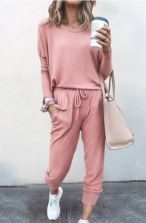 Loose solid Pink color long-sleeved casual suit